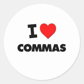 I love Commas Round Stickers