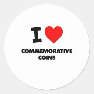 I love Commemorative Coins Round Stickers