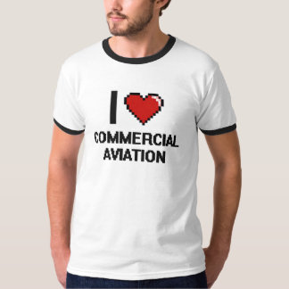 I Love Commercial Aviation Digital Design Tee Shirts
