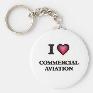 I Love Commercial Aviation Keychain