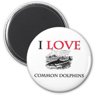 I Love Common Dolphins 2 Inch Round Magnet