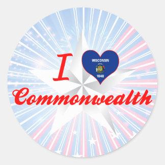 I Love Commonwealth, Wisconsin Classic Round Sticker