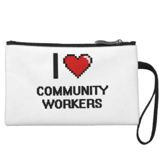 I love Community Workers Wristlet Purse
