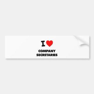 I Love Company Secretaries Bumper Sticker