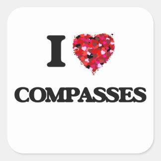 I love Compasses Square Sticker