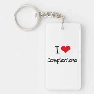 I love Compilations Single-Sided Rectangular Acrylic Keychain
