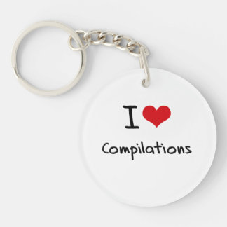 I love Compilations Single-Sided Round Acrylic Keychain