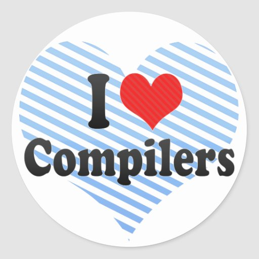 I Love Compilers Round Stickers
