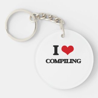 I love Compiling Single-Sided Round Acrylic Keychain