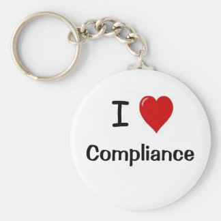 I Love Compliance I Heart Compliance Basic Round Button Keychain