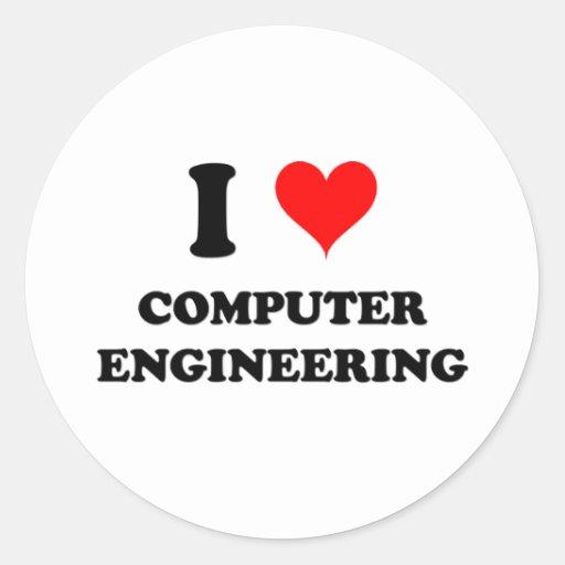 I Love Computer Engineering Round Sticker