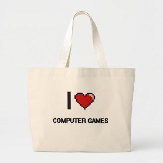I Love Computer Games Digital Retro Design Jumbo Tote Bag