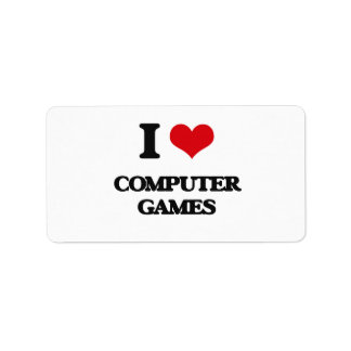 I Love Computer Games Personalized Address Label