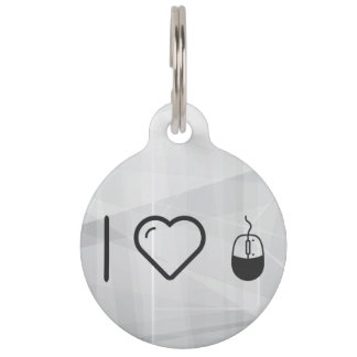 I Love Computer Mouse Pet ID Tags