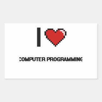 I Love Computer Programming Digital Retro Design Rectangular Sticker