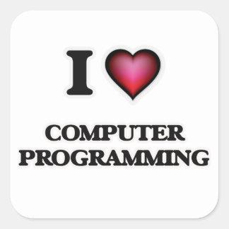 I Love Computer Programming Square Sticker