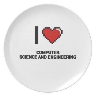 I Love Computer Science And Engineering Digital De Party Plates