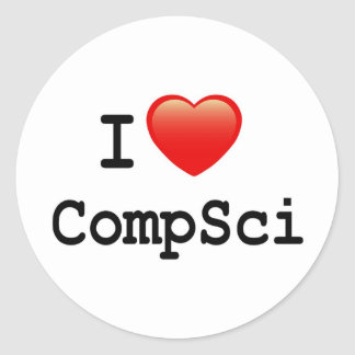 I love Computer Science Classic Round Sticker