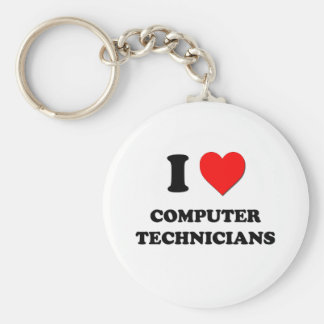I love Computer Technicians Basic Round Button Keychain
