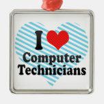 I Love Computer Technicians Square Metal Christmas Ornament