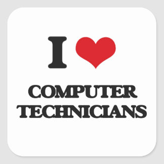 I love Computer Technicians Square Sticker