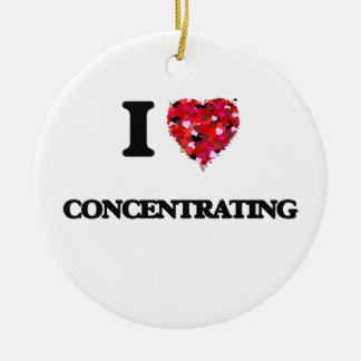 I love Concentrating Double-Sided Ceramic Round Christmas Ornament