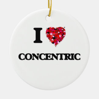 I love Concentric Double-Sided Ceramic Round Christmas Ornament