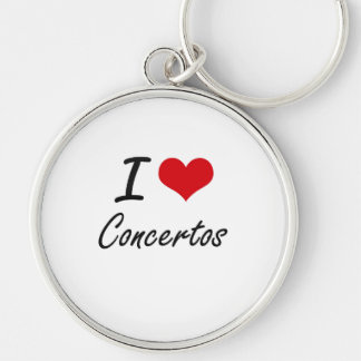 I love Concertos Artistic Design Silver-Colored Round Keychain