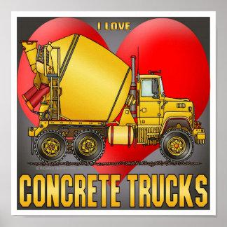 I Love Concrete Trucks Poster Print