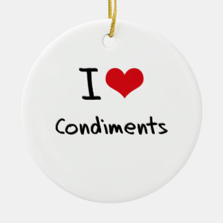 I love Condiments Double-Sided Ceramic Round Christmas Ornament