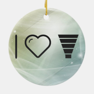 I Love Cone Funnels Double-Sided Ceramic Round Christmas Ornament