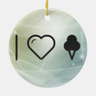 I Love Cone Icecreams Double-Sided Ceramic Round Christmas Ornament