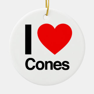 i love cones Double-Sided ceramic round christmas ornament