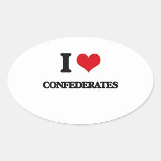 I love Confederates Oval Sticker