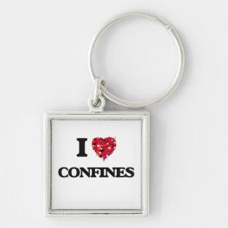 I love Confines Silver-Colored Square Keychain