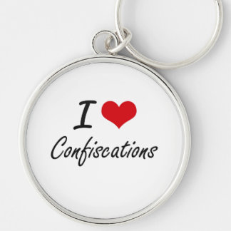 I love Confiscations Artistic Design Silver-Colored Round Keychain
