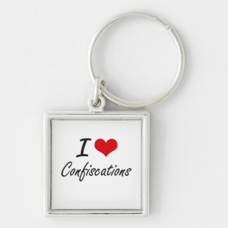 I love Confiscations Artistic Design Silver-Colored Square Keychain