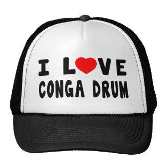 I Love Conga drum Mesh Hats