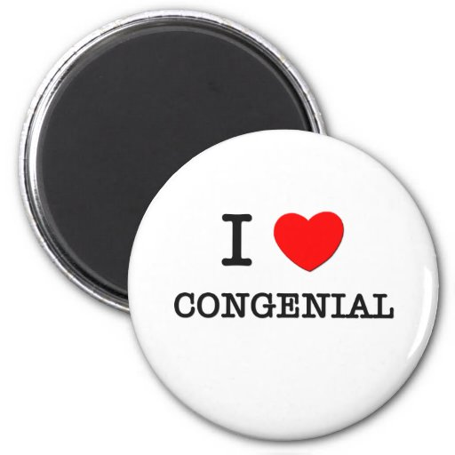 I Love Congenial 2 Inch Round Magnet