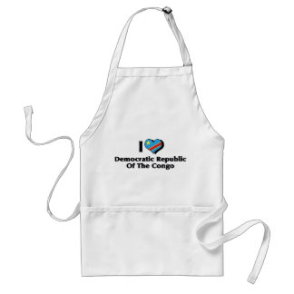I Love Congo Democratic Republic Flag Adult Apron