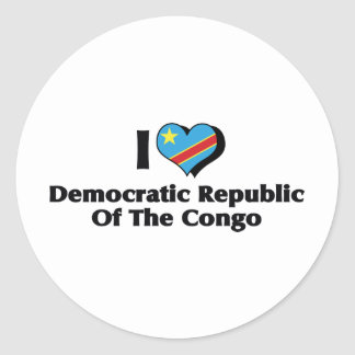 I Love Congo Democratic Republic Flag Classic Round Sticker