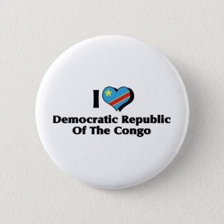 I Love Congo Democratic Republic Flag Pinback Button