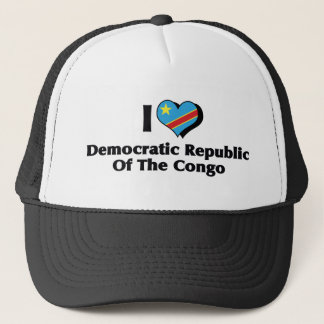 I Love Congo Democratic Republic Flag Trucker Hat