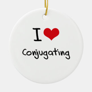 I love Conjugating Double-Sided Ceramic Round Christmas Ornament