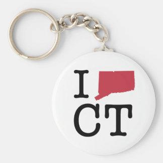 I Love Connecticut Basic Round Button Keychain