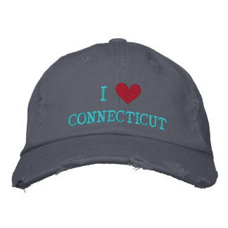I LOVE CONNECTICUT EMBROIDERED BASEBALL CAP