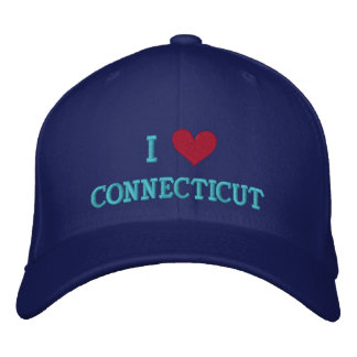 I LOVE CONNECTICUT EMBROIDERED BASEBALL CAPS