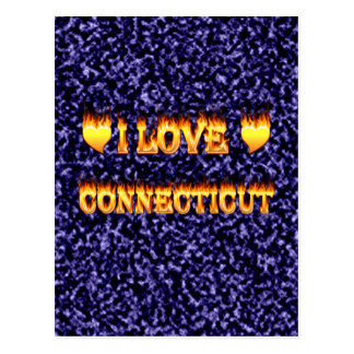 I love connecticut fire and flames postcard