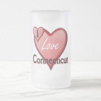 I Love Connecticut Frosted Glass Beer Mug