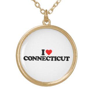 I LOVE CONNECTICUT ROUND PENDANT NECKLACE